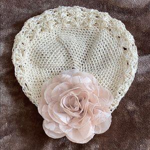 Crocheted floral toddler/girl beanie